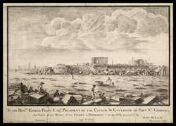 Ruins of the citadel in Pondicherry after the attack by the British; McClean shown sketching in the foreground. 8 September 1762